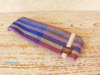 nisipirica工房の手織りターバン(purple☆3)の画像