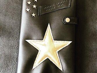 ぷっくりお星様ノートカバー(black × gold)の画像
