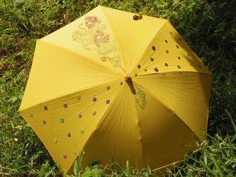 手刺繍の日傘【葡萄とカメレオン】※送料無料の画像