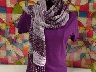 手織り おしゃれで涼しげなサマーストール パープル&紫の画像