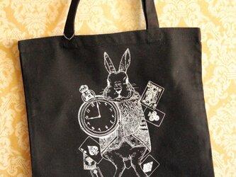 時計ウサギのトートバッグ☆黒の画像