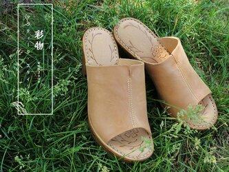 【受注製作】牛革靴 ヒールサンダル つま先出 ベージュ NH8891の画像