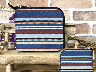 【薄い財布】倉敷帆布 カード・お札・小銭一括収納 二つ折り財布 紺系生地 紺ファスナーの画像