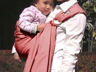 抱っこ紐 新生児 ベビースリング麻55% 綿45%スリング(チェリーピンク)二枚重ねの画像