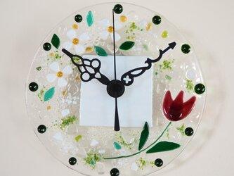 【オーダー制作】ミニ壁掛け時計(チューリップ)の画像