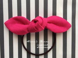 リネン ホットピンク リボン ヘアゴムの画像