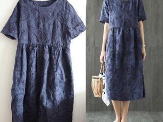【受注製作】手作100%麻・刺繍・ロング・天然麻生地 ワンピース TR3375の画像