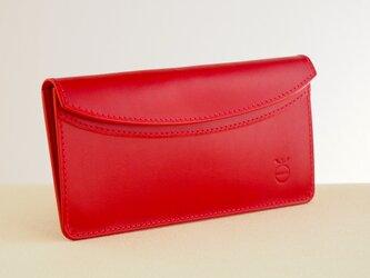 薄い軽い使いやすい! スリムな財布#レッドの画像