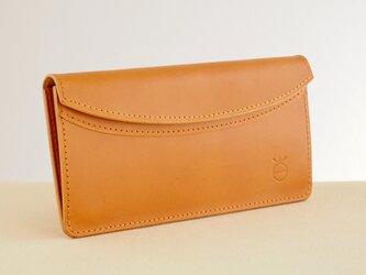 薄い軽い使いやすい! スリムな財布#キャメルの画像