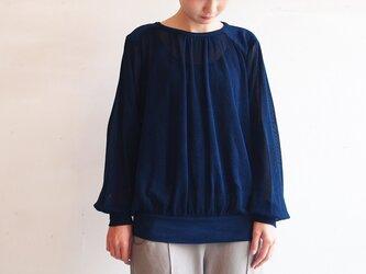 ■オーガニックコットンのメッシュトップス/濃藍色の画像