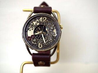 フクロウ ワインブラウン 手作り腕時計の画像