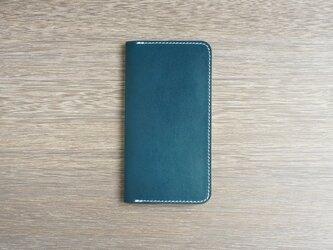 牛革 iPhoneXS/Xカバー  ヌメ革  レザーケース  手帳型  ネイビーカラーの画像