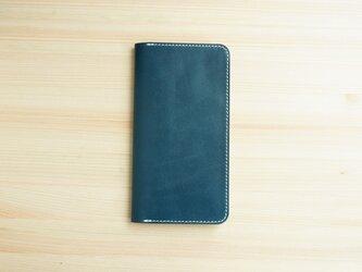 牛革 iPhone8Plus/7plus ヌメ革 レザーケース カバー    手帳型  ネイビーカラーの画像