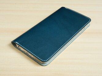 牛革 iPhone6plus/6splus ヌメ革 レザーケース カバー    手帳型  ネイビーカラーの画像