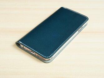 牛革 iPhone6/6sカバー  ヌメ革  レザーケース  手帳型  ネイビーカラーの画像