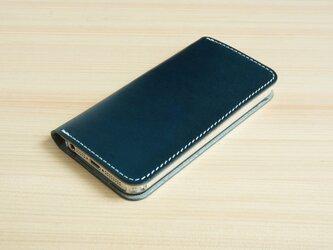 牛革 iPhone5/5sカバー ヌメ革 レザーケース 手帳型 ネイビーカラーの画像