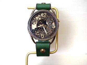 フクロウ グリーン 手作り腕時計の画像
