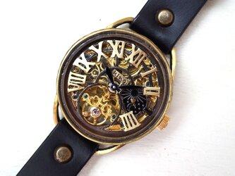 K-11 クラウン 真鍮  スケルトン GD/MOV ブラック 手作り腕時計の画像
