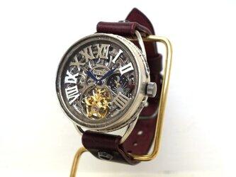 K-11 クラウン シルバー  スケルトン ワインブラウン 手作り腕時計の画像