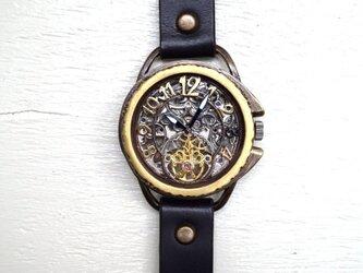 アラベスク AT SV/MOV 真鍮 ブラック 手作り腕時計の画像