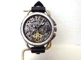 アラベスク AT シルバー ブラック 手作り腕時計の画像