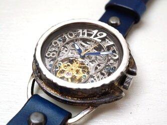 アラベスク AT シルバー ブルー 手作り腕時計の画像