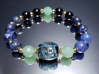 トンボ玉&天然石ブレスレット~BP0006~の画像