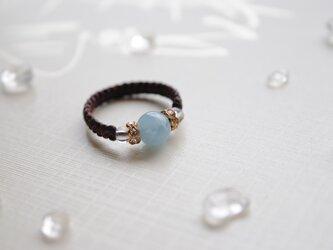 アクアマリン編み指輪*6㎜の画像