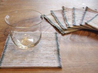 長く使える 木綿・裂き織り コースター ホワイト×グリーン 1枚の画像