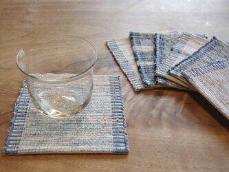 長く使える 木綿・裂き織り コースター ホワイト×ブルー 1枚の画像