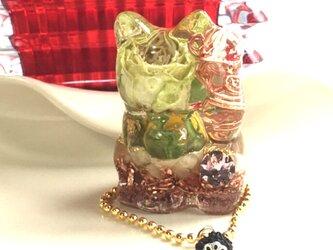 出会いを招く 招き猫 カーネリアン&アラゴナイト オルゴナイト 左手上げ の画像