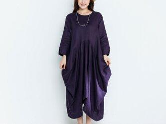 リネンゆったりロングワンピース・ドレスの画像