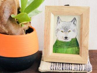 nit  and wolf. グリーンのニットと狼。の画像