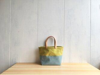 【受注製作】黄緑色と水色の小さな鞄の画像