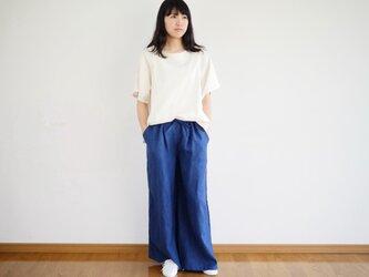 【受注製作】エシカルヘンプワイドパンツ カレン族藍染め 藍色 Sの画像