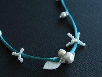 白小花シリーズ⁂ピーコックブルー の画像
