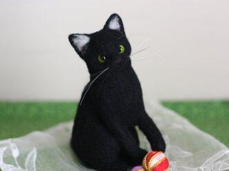 黒猫にゃん。。。しあわせ こいこい 羊毛フェルトの画像
