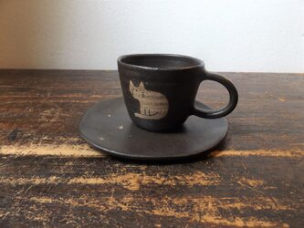 ねこカップ&ソーサー(黒 たて)の画像
