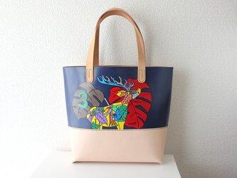 手縫い手描きのトートバック /  シカの画像