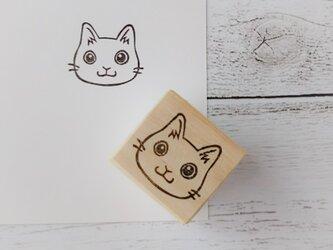 くりっとした目の白猫*消しゴムはんこ*の画像