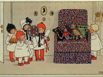 ドイツ製 ポストカード【花柄のソファと子供たち】DA-PCD007の画像