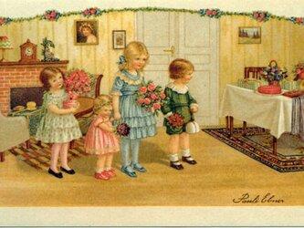 ドイツ製 ポストカード【およばれの4人姉弟】DA-PCD013の画像