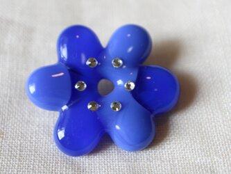 花のいろは(ブルー)*ガラスのブローチの画像