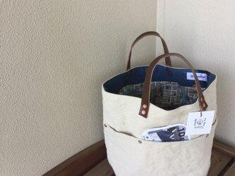gallery■ミリタリーツイル&modaトート丸型Mサイズ☆茶革#g91生成りの画像