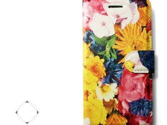 【両面デザイン】 iphoneケース 手帳型 レザーケース カバー(花柄×ブラック)フラワーアートの画像