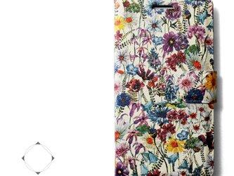 【両面デザイン】 iphoneケース 手帳型 レザーケース カバー(花柄×ブラック)ワイルドフラワー ボタニカルの画像