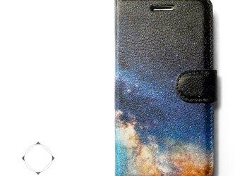 【両面デザイン】 iphoneケース 手帳型 レザーケース カバー(天の川×ブラック)夜空の画像