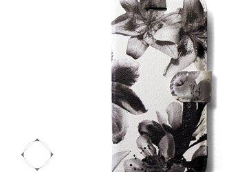 【両面デザイン】 iphoneケース 手帳型 レザーケース カバー(花柄×ブラック)ホワイトフラワーの画像