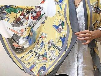 【受注製作】タロットと生命の木柄の大判ショール 幅110cmタイプの画像