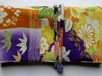 送料無料 花柄の着物で作った和風財布・ポーチ 3606の画像